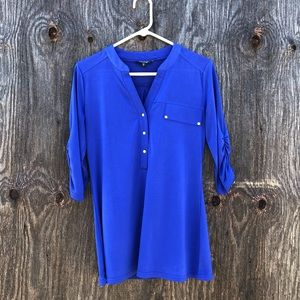 George Blue Dress Shirt w/ Ruched Sleeves